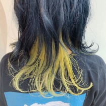 deep blue × lemon yellow